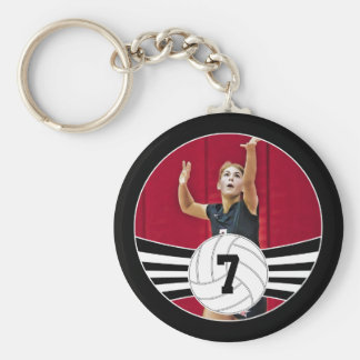 Custom Photo & Jersey Number Volleyball Key Chain