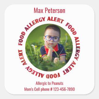 Custom Photo Kids Food Allergy Medical Alert Square Sticker