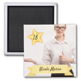 Custom Photo Magnet with Name and Age