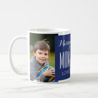 Custom Photo Mom & Dad Christmas Mug Blue