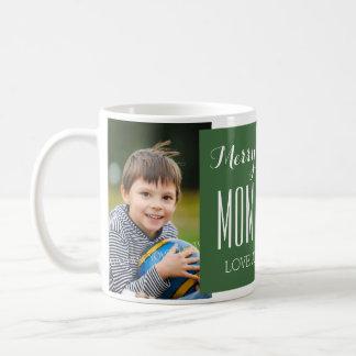 Custom Photo Mom & Dad Christmas Mug Green
