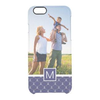 Custom Photo & Monogram Anchor pattern Clear iPhone 6/6S Case