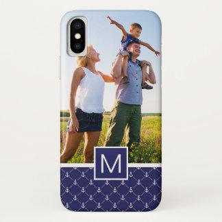 Custom Photo & Monogram Anchor pattern iPhone X Case