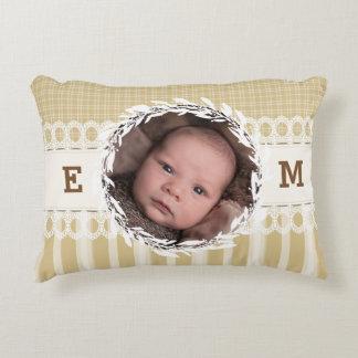 Custom Photo Monogram Beige Baby Nursery Pillow