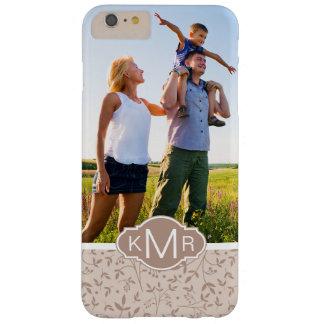 Custom Photo & Monogram Beige pattern Barely There iPhone 6 Plus Case