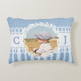 Custom Photo Monogram Blue Baby Nursery Pillow