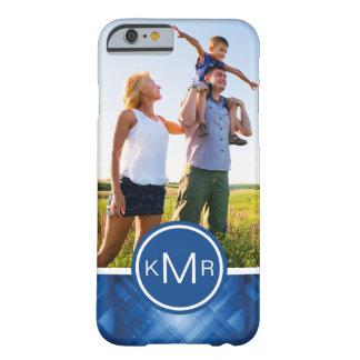 Custom Photo & Monogram blue hi-tech background Barely There iPhone 6 Case