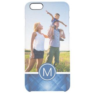 Custom Photo & Monogram blue hi-tech background Clear iPhone 6 Plus Case