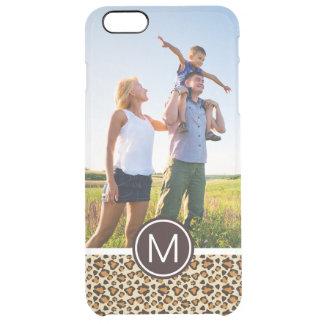 Custom Photo & Monogram Cheetah skin pattern Clear iPhone 6 Plus Case