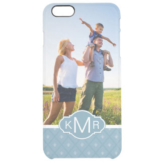 Custom Photo & Monogram Fleur-de-lis pattern Clear iPhone 6 Plus Case