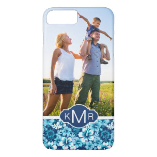 Custom Photo & Monogram Floral Hibiscus Pattern iPhone 8 Plus/7 Plus Case