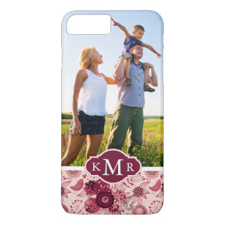 Custom Photo & Monogram Floral pattern with birds iPhone 8 Plus/7 Plus Case
