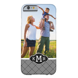 Custom Photo & Monogram Geometric checked texture Barely There iPhone 6 Case