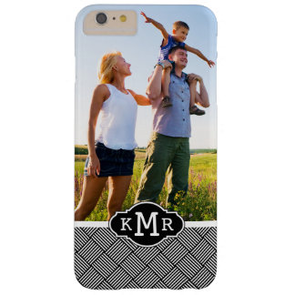 Custom Photo & Monogram Geometric checked texture Barely There iPhone 6 Plus Case