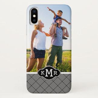 Custom Photo & Monogram Geometric checked texture Case-Mate iPhone Case