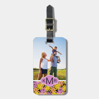 Custom Photo & Monogram Gerbera flowers pattern Bag Tag