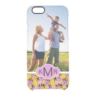 Custom Photo & Monogram Gerbera flowers pattern Clear iPhone 6/6S Case