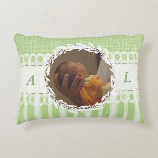 Custom Photo Monogram Green Baby Nursery Pillow
