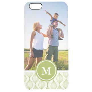 Custom Photo & Monogram Green Ogee Pattern Clear iPhone 6 Plus Case