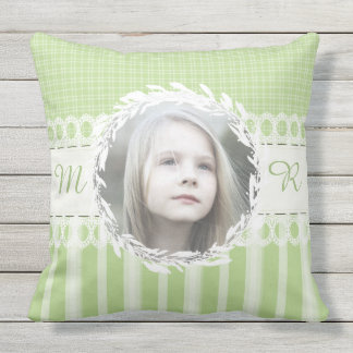 Custom Photo Monogram Green Sofa Throw Pillow