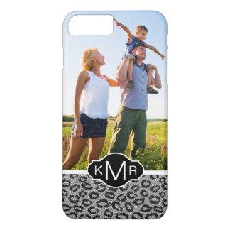 Custom Photo & Monogram lace with leopard pattern iPhone 7 Plus Case