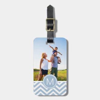 Custom Photo & Monogram Light Blue Chevron Bag Tag