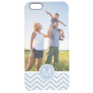 Custom Photo & Monogram Light Blue Chevron Clear iPhone 6 Plus Case