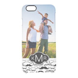 Custom Photo & Monogram Mustache pattern 2 Clear iPhone 6/6S Case