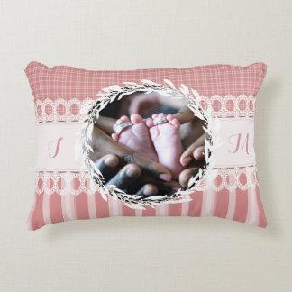 Custom Photo Monogram Pink Baby Nursery Pillow