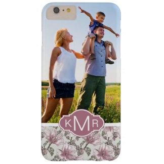 Custom Photo & Monogram Pink Hibiscus Flowers Barely There iPhone 6 Plus Case