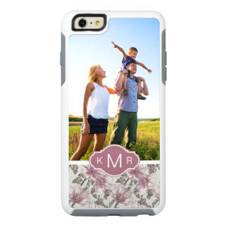 Custom Photo & Monogram Pink Hibiscus Flowers OtterBox iPhone 6/6s Plus Case