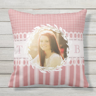 Custom Photo Monogram Pink Sofa Throw Pillow