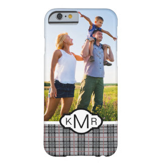 Custom Photo & Monogram Pixel Plaid in Grey & Red Barely There iPhone 6 Case