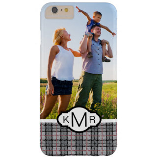 Custom Photo & Monogram Pixel Plaid in Grey & Red Barely There iPhone 6 Plus Case