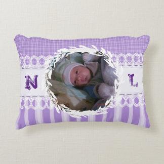 Custom Photo Monogram Purple Baby Nursery Pillow