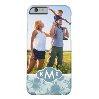 Custom Photo & Monogram Retro Floral Pattern 2 2 Barely There iPhone 6 Case