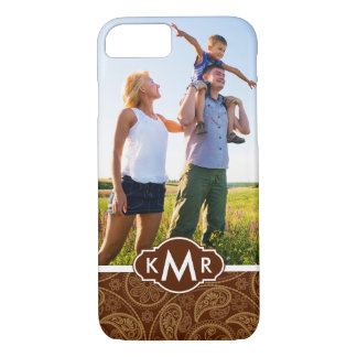 Custom Photo & Monogram Retro mandala pattern Case-Mate iPhone Case