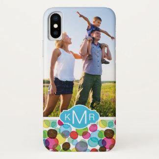 Custom Photo & Monogram Round bubbles pattern 2 Case-Mate iPhone Case