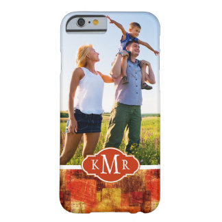 Custom Photo & Monogram Squares on grunge wall Barely There iPhone 6 Case