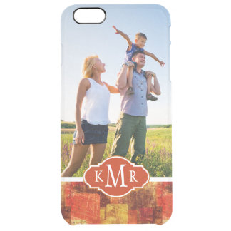 Custom Photo & Monogram Squares on grunge wall Clear iPhone 6 Plus Case