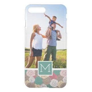 Custom Photo & Monogram Stylish floral pattern iPhone 7 Plus Case