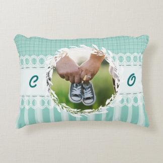 Custom Photo Monogram Teal Baby Nursery Pillow
