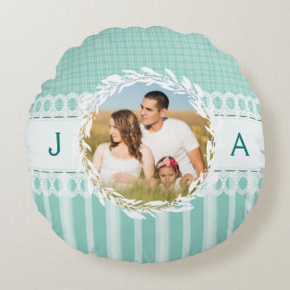 Custom Photo Monogram Teal Round Accent Pillow