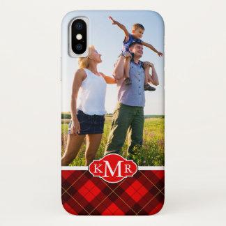 Custom Photo & Monogram Wallace tartan background iPhone X Case