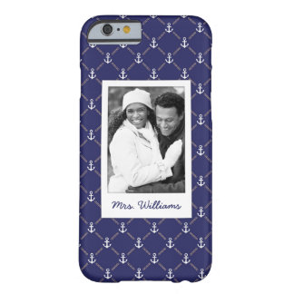 Custom Photo & Name Anchor pattern Barely There iPhone 6 Case