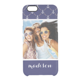 Custom Photo & Name Anchor pattern Clear iPhone 6/6S Case