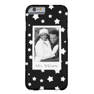 Custom Photo & Name Black and white stars pattern Barely There iPhone 6 Case