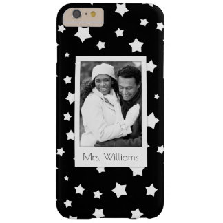 Custom Photo & Name Black and white stars pattern Barely There iPhone 6 Plus Case