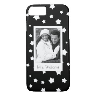Custom Photo & Name Black and white stars pattern iPhone 7 Case