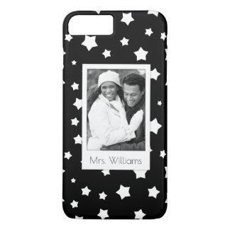 Custom Photo & Name Black and white stars pattern iPhone 7 Plus Case